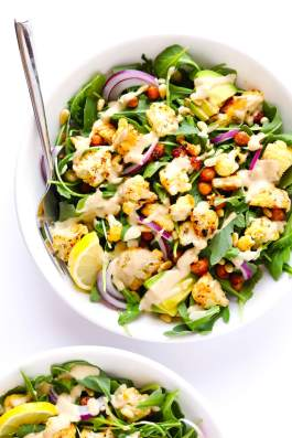 Vegetarian-Cauliflower-Chickpea-and-Arugula-Salad-with-Creamy-Tahini-Dressing-2